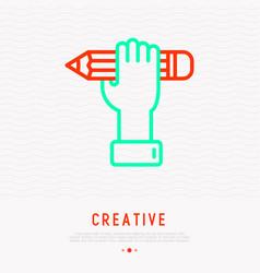 pencil in hand symbol crativity thin line icon vector image