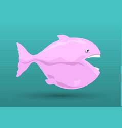 pink fish cartoon vector image