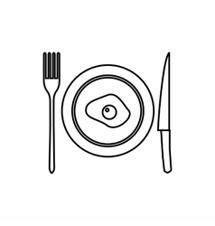 Plate of scrambled eggs a knife and fork icon vector
