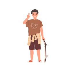 Portrait happy teenager standing vector