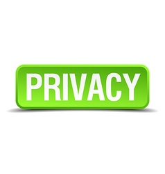 Privacy green 3d realistic square isolated button vector