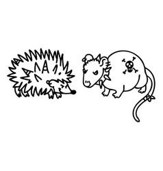 Punk rock hedgehog and rat monochrome lineart vector