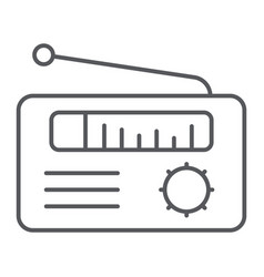 radio receiver thin line icon media and broadcast vector image