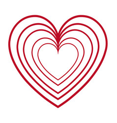 red heart love romantic feeling decoration vector image