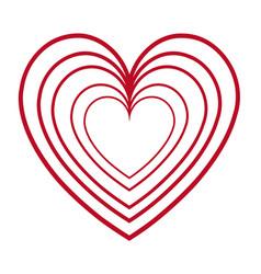 Red heart love romantic feeling decoration vector