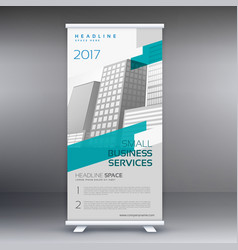 Roll up banner standee design template in gray vector