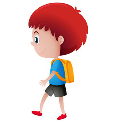 school boy with yellow backpack vector image