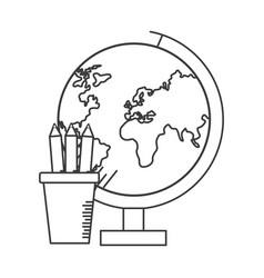 school globe pencils vector image