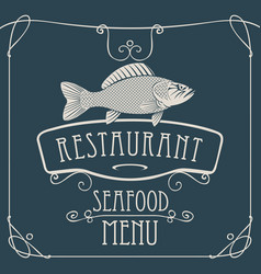 Seafood restaurant menu with big fish vector
