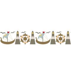 Seamless border with a sea theme vector