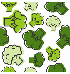 seamless outline broccoli vegetable pattern for vector image