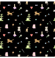 Seamless pattern cat vector image