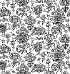 Seamless pattern with hand drawn henna mehndi vector