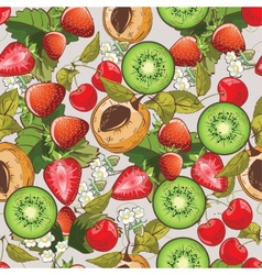 Seamless summer fruits pattern vector image