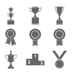 set award success and victory icons vector image
