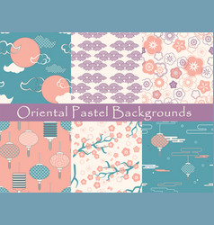 set chinese seamless patterns and vector image