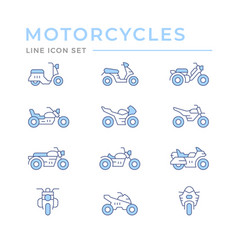 set color line icons motorcycles vector image