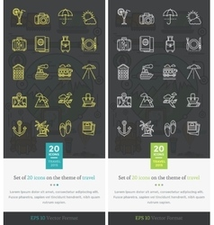 set icons on theme travel and vacation vector image