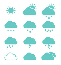 set of clouds weather icons flat style in vector image