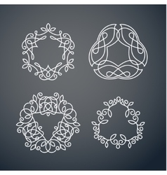 Set of outline monogram 07 vector image