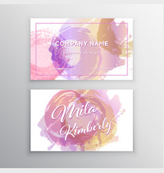 Set of pink and gold design business card vector