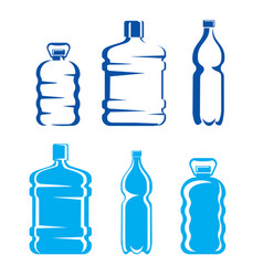 Set of plastic bottles symbols and silhouettes vector