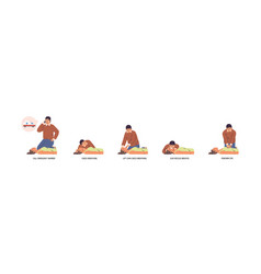 Set stages to perform emergency first aid vector