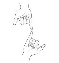 Sketch of two shaka hand on white background vector