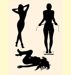 Slim girl stands on scale silhouette vector