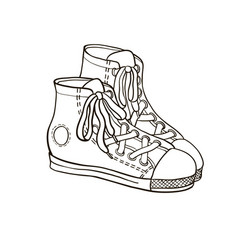 sneakers line drawing vector image