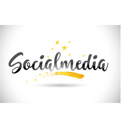 Socialmedia word text with golden stars trail and vector