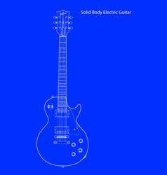 Solid body electric guitar blueprint vector