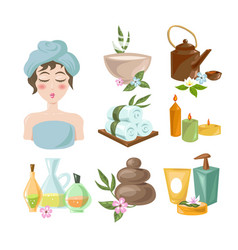 Spa salon pampering and relaxation procedures in vector