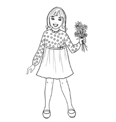 Teenager cartoon girl with flowers in hand vector image