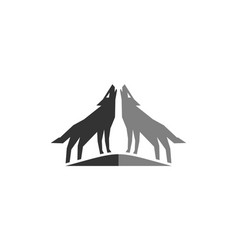 two wolf logo icon design vector image