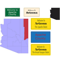 us arizona state apache county map and road sign vector image