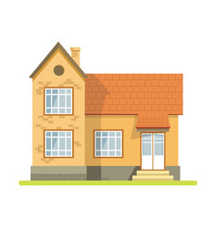 Vintage style brick house with plastic entrance vector