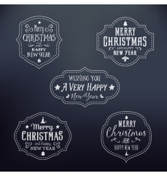 Vintage Typography Christmas Badges Set vector image