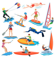 Water sport people in extreme activity or vector