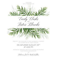 Wedding invite save date card with palm leaves vector