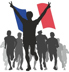 Winner with the France flag at the finish vector image