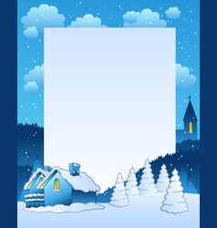 winter frame with small village vector image