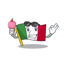 With ice cream italy flags placed in cartoon vector