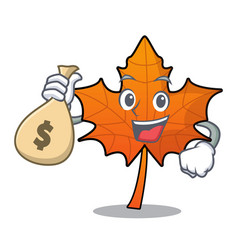 With money bag red maple leaf character cartoon vector