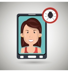 woman smartphone secure vector image