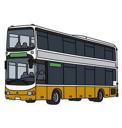 Yellow and white double decker bus vector