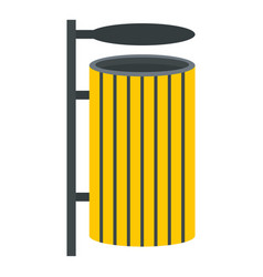 yellow litter waste bin icon isolated vector image