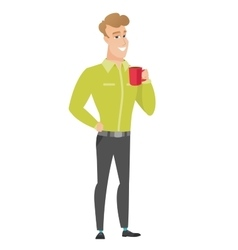Young caucasian businessman holding cup of coffee vector image