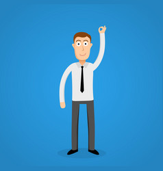 Satisfy business man and ok sign vector
