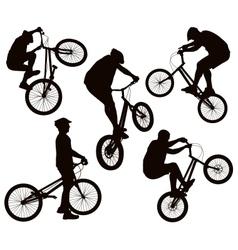 Biker silhouettes set vector